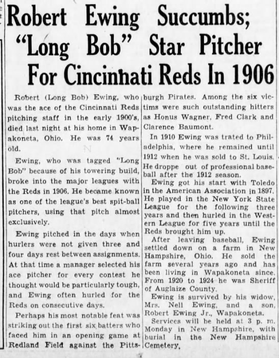 "EwingGeorgeLemuelObit - Robert Ewing ""Long Bob"" For Cincinhati Reds In..."