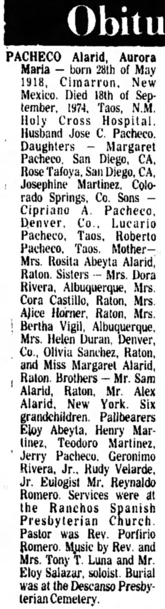 Aurora's Obit - PACHECO Alarid, Aurora Maria - born 28th of May...