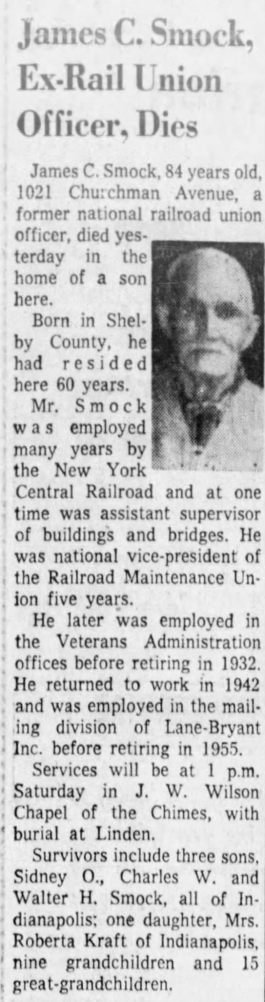 James C. Smock (1876-1960), Ex-Rail Union Officer. - James C. Smock, Ex-Rail Ex-Rail Ex-Rail Union...