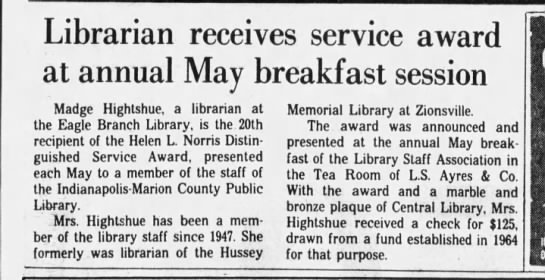 Madge, award, 1947-82 - Librarian receives service award at annual May...