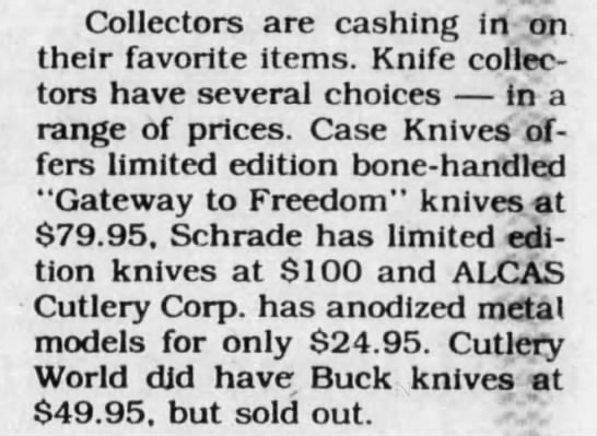 Alcas - Statue of Liberty Knife - 1986 - Collectors are cashing in on. their favorite...