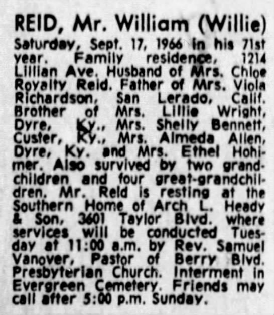 - REID, Mr. William (Willie) Saturday, Sept. 17,...
