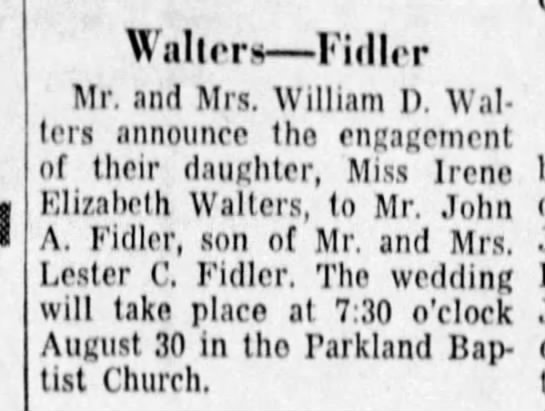 Engagement announcement - Walters Fiillpr Mr. and Mrs. William D. Wallers...