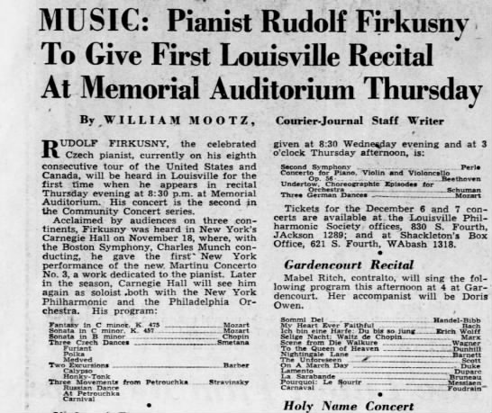 Pianist Rudolf Firkusny to give 1st Louisville recital 03/12/1950 - MUSIC: Pianist Rudolf Firkusny To Give First...