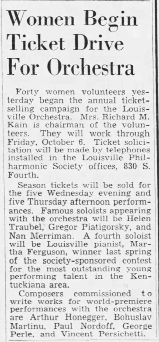 Women begin ticket drive for orchestra 26/09/1950