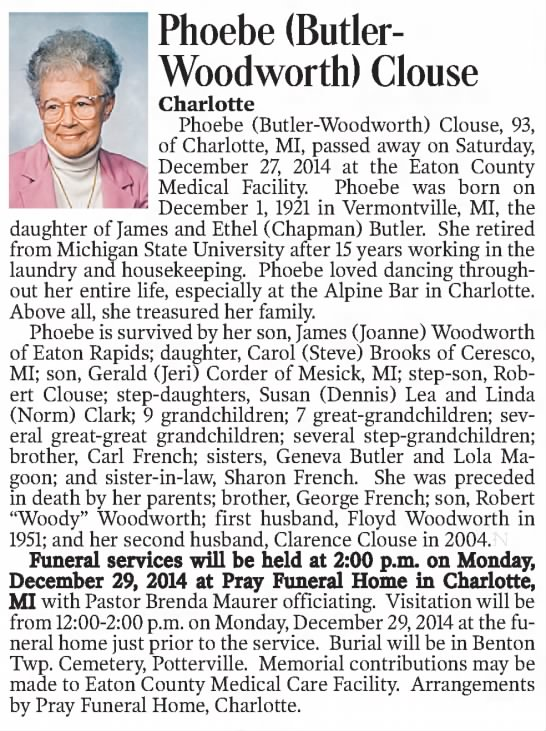 Obit - Phoebe (Butler- Woodworth) Clouse Charlotte...