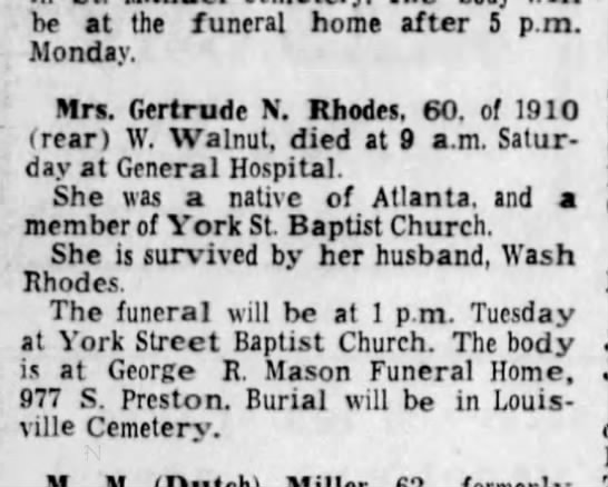 Gertrude Rhodes Obit - he at the funeral home after 5 p.m. Monday....