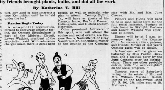 Re Oxmoor Race 1949 - friends brought plants, bulbs, and did all the...