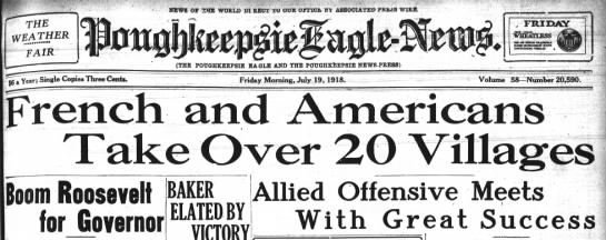 Headline Pok Eagle July 19, 1918, page 1 - THE WEATHER '' NEWS Or SHE WORLD DIREOX: TO...