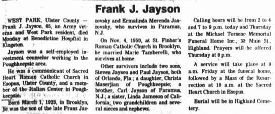 - WEST PARK, Ulster County Prank J Jayson, 65, an...