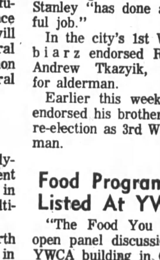 "Poughkeepsie Journal, N. Y., Oct. 6, 1971, page 38 - in in Stanley ""has done wonderful job."" In the..."
