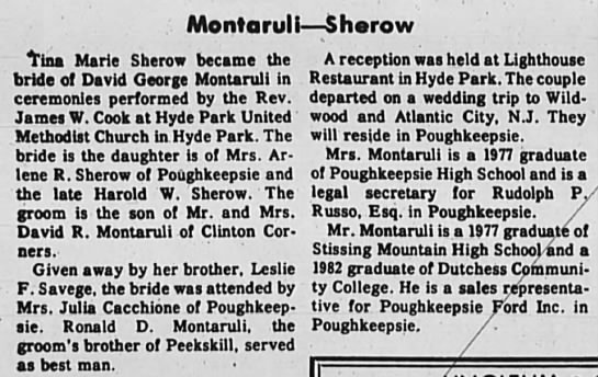 Wedding of Tina Marie Sherow and David George Montaruli - Montaruli Sherow Tina Marie Sherow became the...