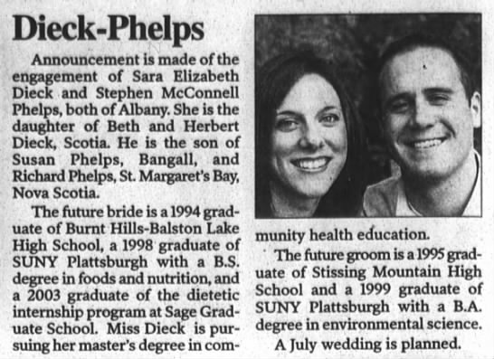 Dieck_Phelps_Engagement_2004 - Dieck - Phelps Announcement is made of the...