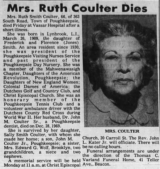 Newspaper - Mrs. Ruth Coulter Dies Mrs. Ruth Smith Coulter,...