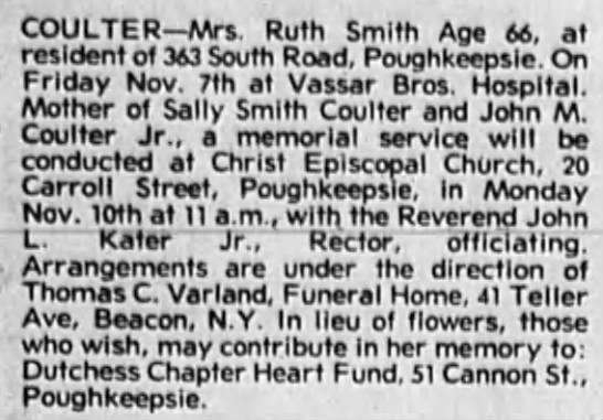 Newspaper - COULTER Mrs. Ruth Smith Age 66, at resident of...