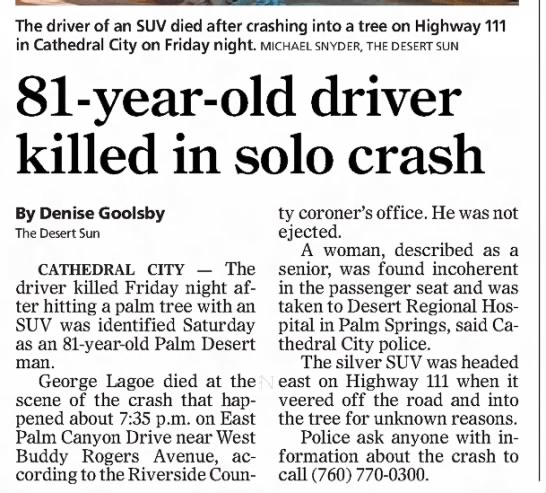 - The driver of an SUV died after crashing into a...
