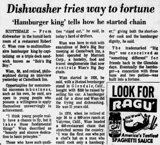 Wian at 72 Big Boy Meeting - Dishwasher fries way to fortune 'Hamburger...