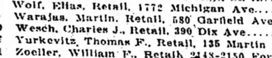 14 dec 1917 Charles m wesch - Wolf. Kit as. Retail. 1772 Michigan Ave......