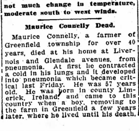 Maurice Connelly obituary