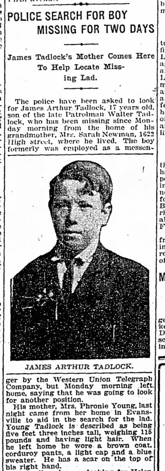 1916-James Arthur Tadlock missing - POLICE SEARCH FOR BOY MISSING FOR TWO DAYS...