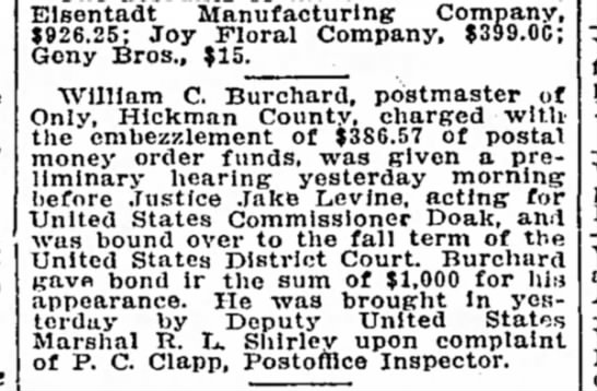 Burchard, William C. (Postmaster, Embezzlement)