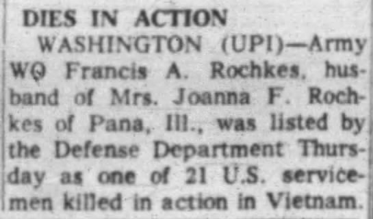 Francis Albert Rochkes - DIES IV ACTION WASHINGTON (UPI) Army WQ Francis...