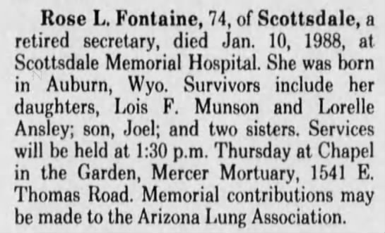 - Rose L. Fontaine, 74, of Scottsdale, a retired...
