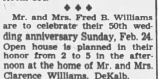 Fred and Delta Williams 50th Wedding Anniversary - Mr. and Mrs. Fred B. Williams are to celebrate-...