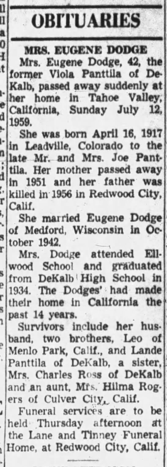 - a OBITUARIES MRS. EUGENE DODGE Mrs. Eugene...