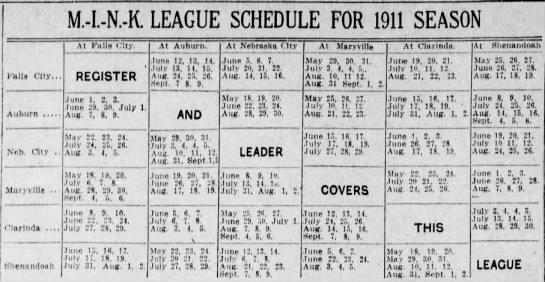 1911 MINK League schedule