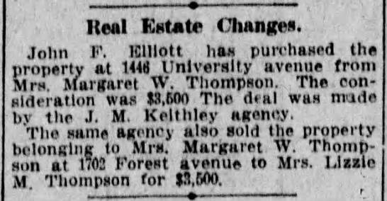 12 May 1911 Real Estate - Ileal EUte Change. John F. lClllott has...