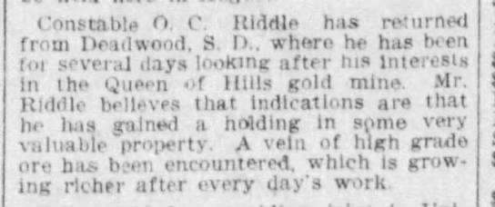 O C Riddle 10 May 1904 The Des Moines Register - Constable O. 0. Riddle has returned from...