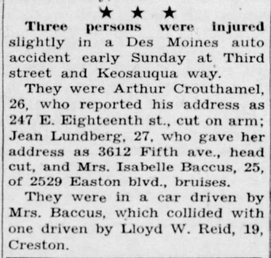 Isabelle Baccus, accident 1946 - Three persons were Injured slightly in a Des...