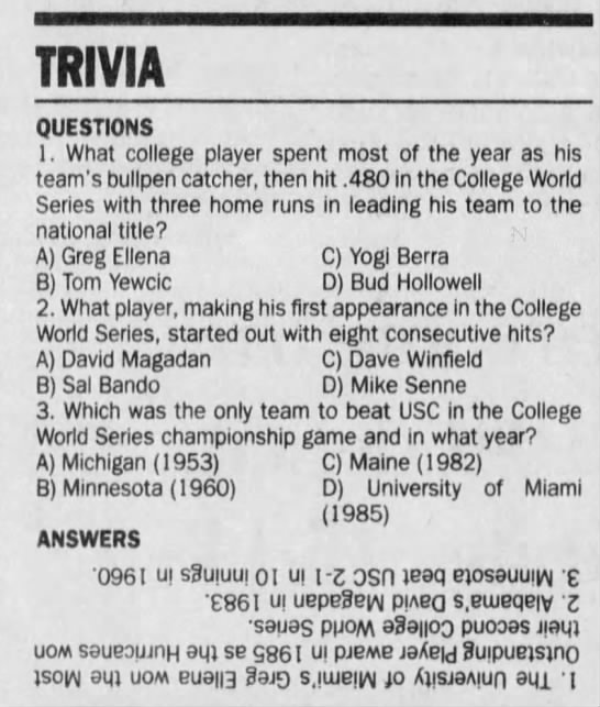 - TRIVIA QUESTIONS 1 . What college player spent...