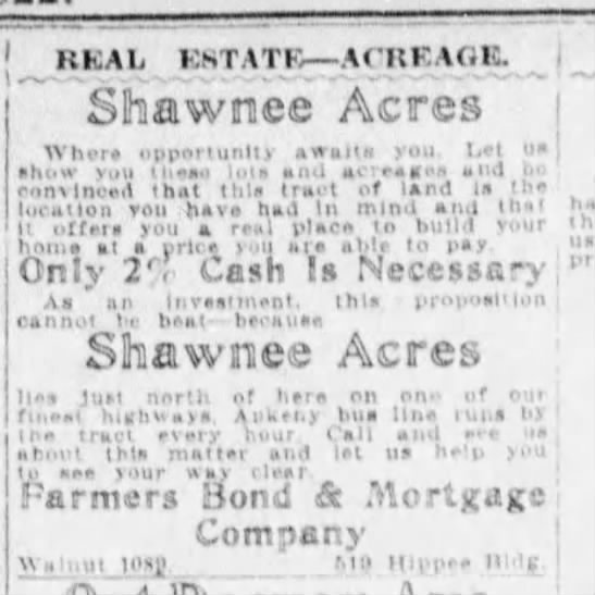 Shawnee Acres- build your home - REAL EST ATE -ACR -ACR EAOG. Shawnee Acres...