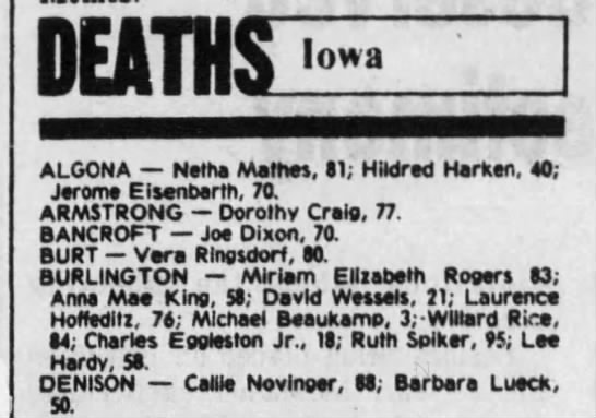 - deaths; Iowa ALGONA Nm Mlltm, II; HMred Harken....