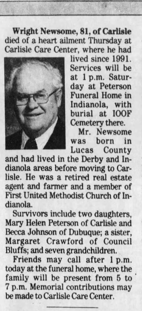 - Wright Newsome, 81, of Carlisle died of a heart...