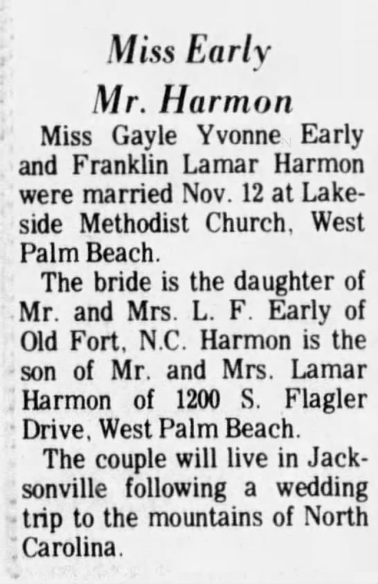 Harmon - Early Marriage - Miss Early Mr. Harmon Miss Gayle Yvonne Early...