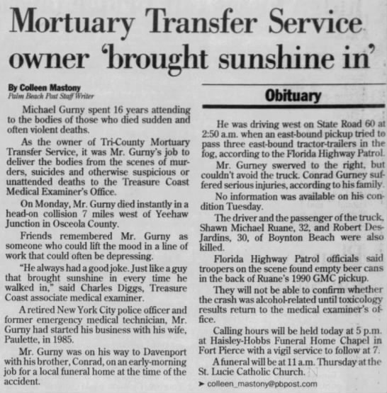 - Mortuary Transfer Service owner 'brought...