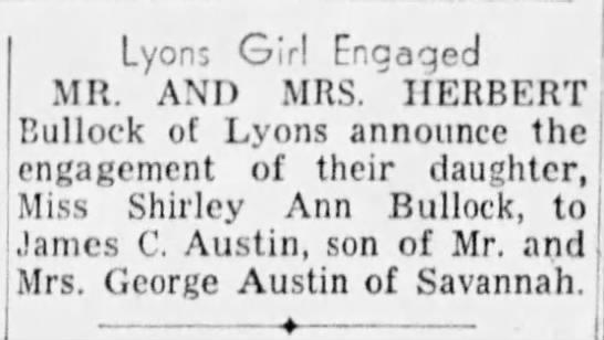 Shirley Ann Bullock engagement 1953 - Lyons Girl Enaaqed MR. AND MRS. ' HERBERT...