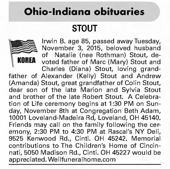 "Irwin B ""Rothman"" Stout Obituary - Ohio-Indianaobituaries Irwin B. age 85, passed..."
