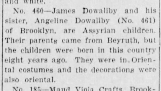 Assyrian siblings in the parade - No. 460 James Dowaliby and his sister, Angeline...