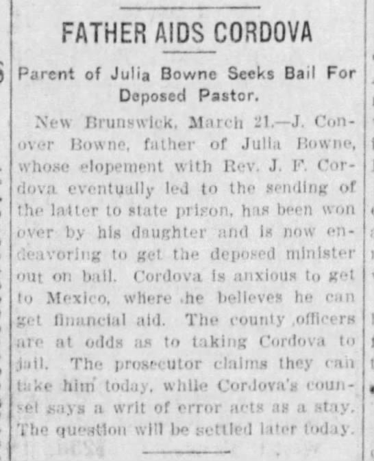 Julia Bowne's parent seeks bail for Cordova. - FATHER AIDS CORDOVA Parent of Julia Bowne Seeks...