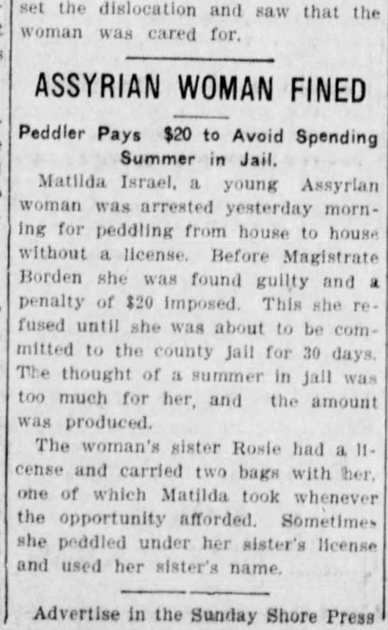 Assyrian woman fined for peddling w/o license - set the dislocation and saw that the woman was...