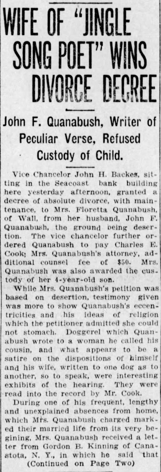 "Published in Asbury Park Press; Saturday, 20 September 1913; Page 1 - WIFE OF ""JINGLE SONG POET"" WINS DIKE DECREE..."