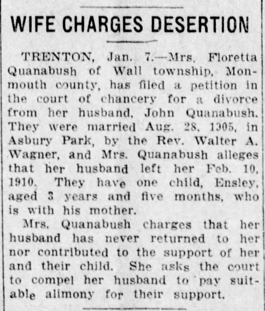 Published in Asbury Park Press; Tuesday, 07 January 1913; Page 6 - WIFE CHARGES DESERTION TRENTON, Jan. 7. Mrs....