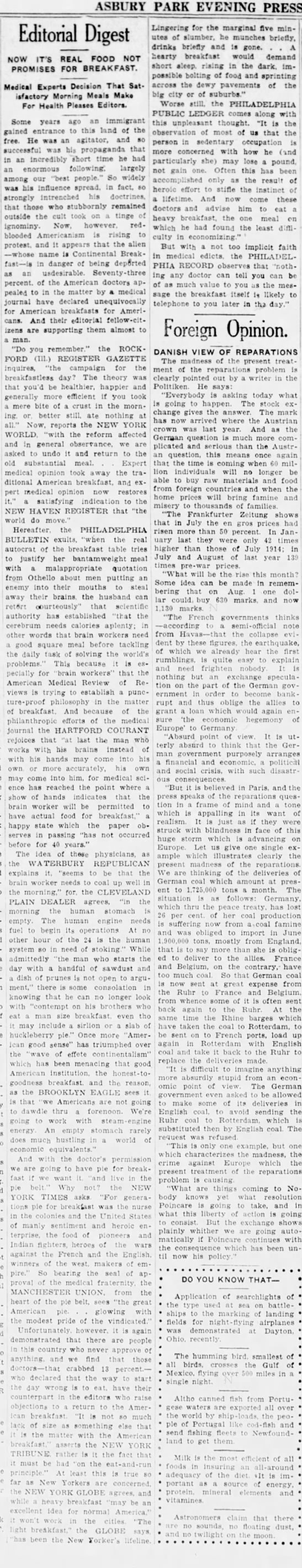 Asbury Park Press(Asbury Park, New Jersey 09091922, Sat - i 1 : prob-; , ; ! journal have declared...