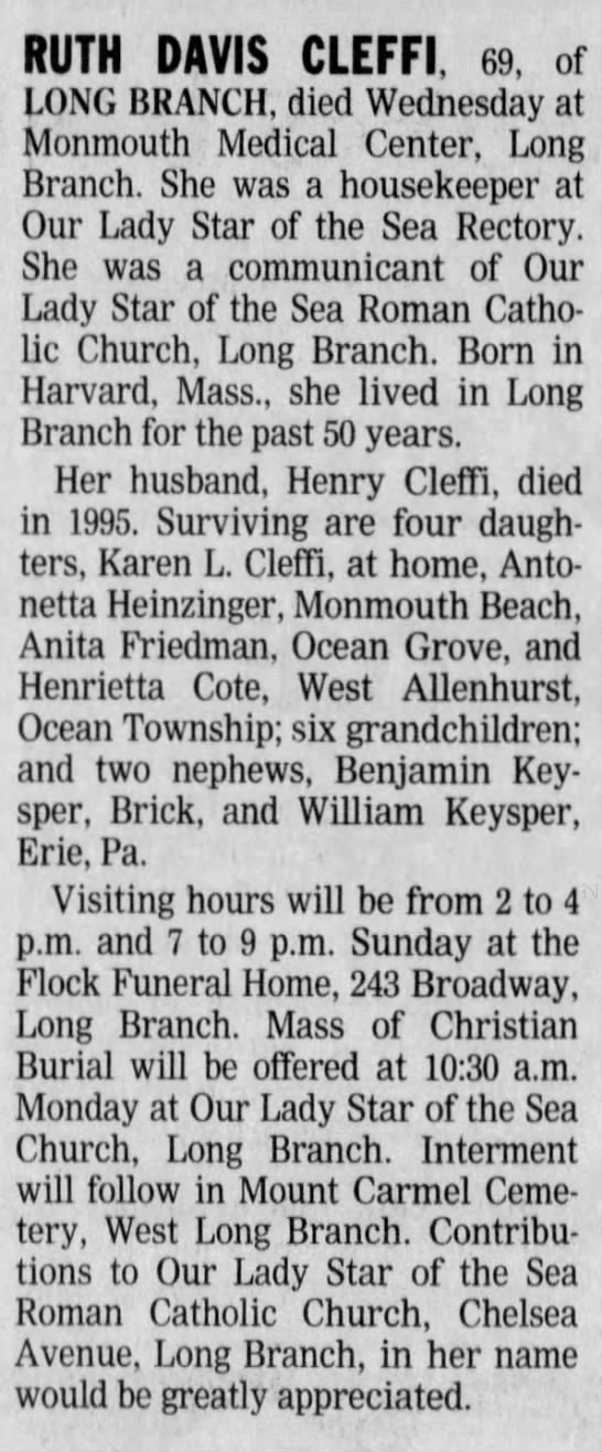 Ruth Cleffi - RUTH DAVIS CLEFFI, 69, of LONG BRANCH, died...