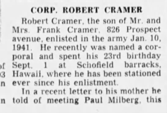 Corp Robert Cramer, part 1 - CORP. ROBERT CRAMER Robert Cramer, the son of...