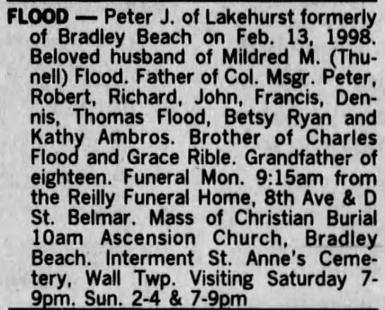 Death Notice for Peter J. Flood - FLOOD Peter J. of Lakehurst formerly of Bradley...